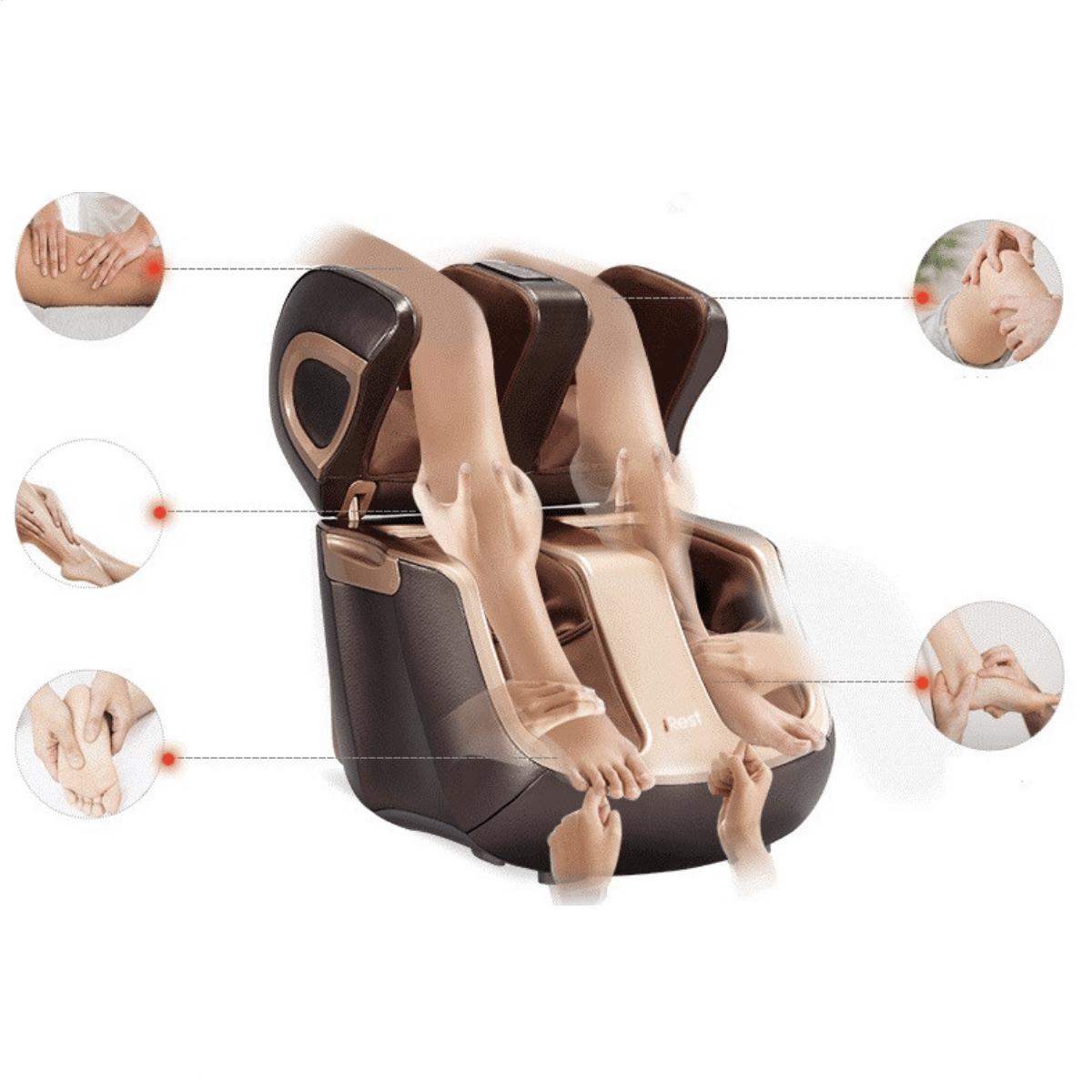 Fotmassagemaskin med rullar och knä massage